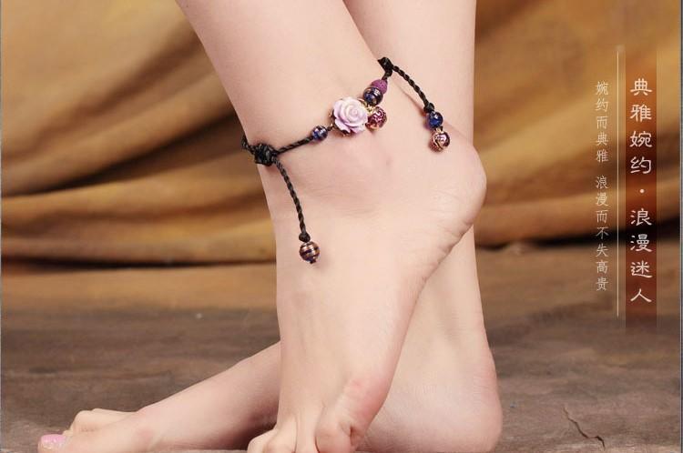 紫玫瑰典雅脚链简约浪漫饰品