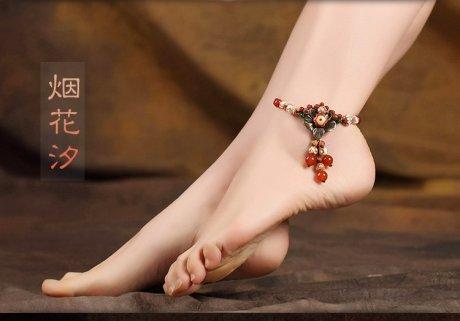 烟花汐脚链时尚天珠饰品
