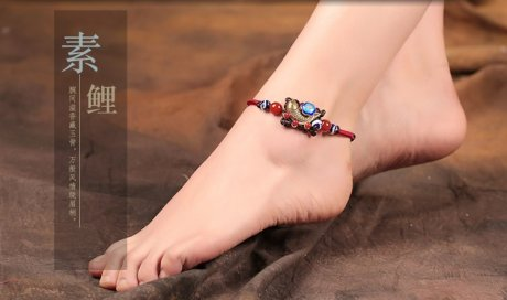 古铜素鲤脚链:复古民族风鱼儿