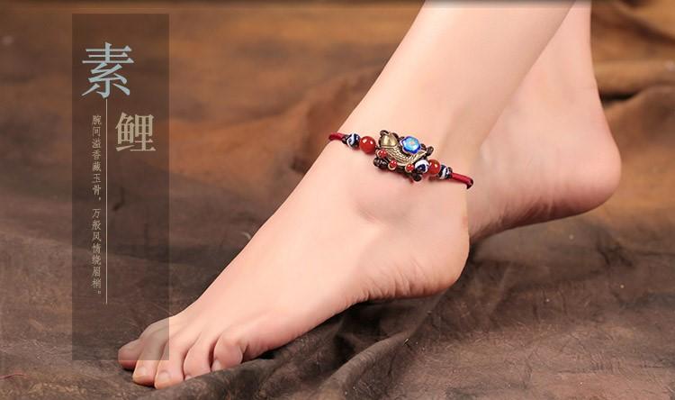 古铜素鲤脚链:复古民族风鱼儿脚链