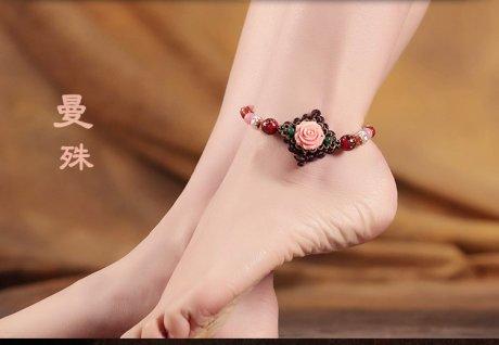 花漾绽香脚链:粉玫瑰贝壳花朵