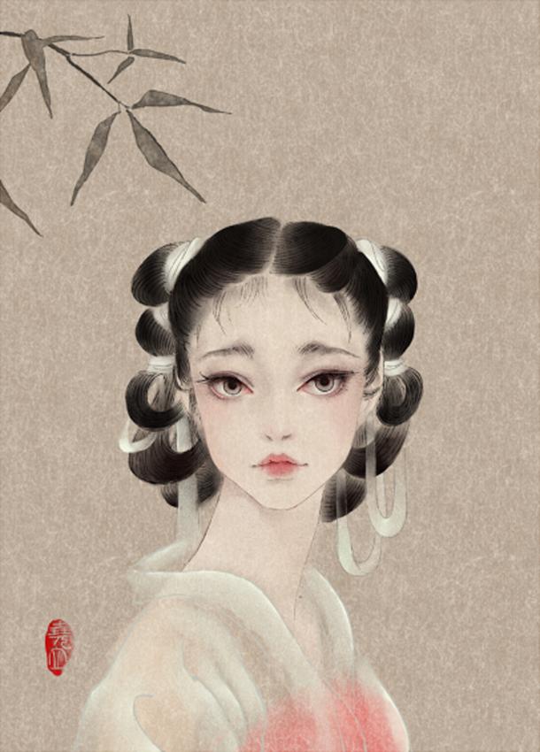 唯美中国风女子手绘插画二