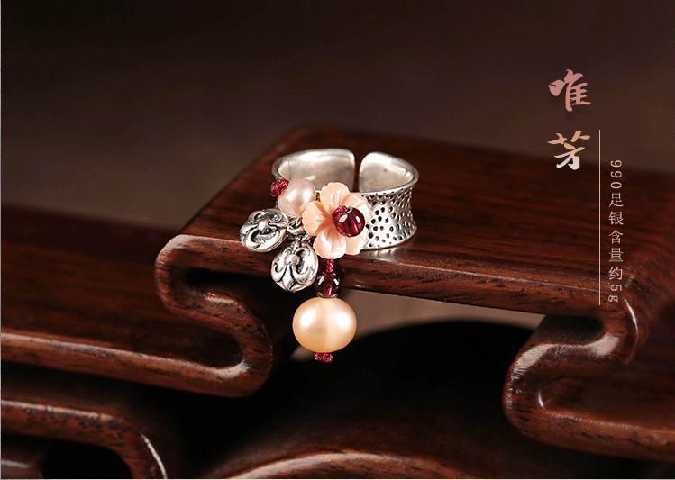 复古小清新贝壳花开口银戒指首饰