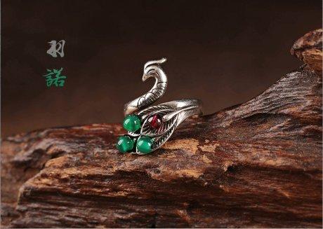 复古典雅凤凰开口藏银戒指首饰