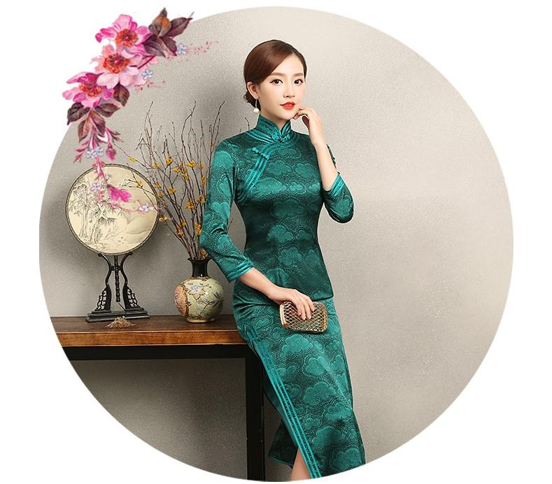 雍容华贵祥云图案旗袍,复古风墨绿色旗袍裙