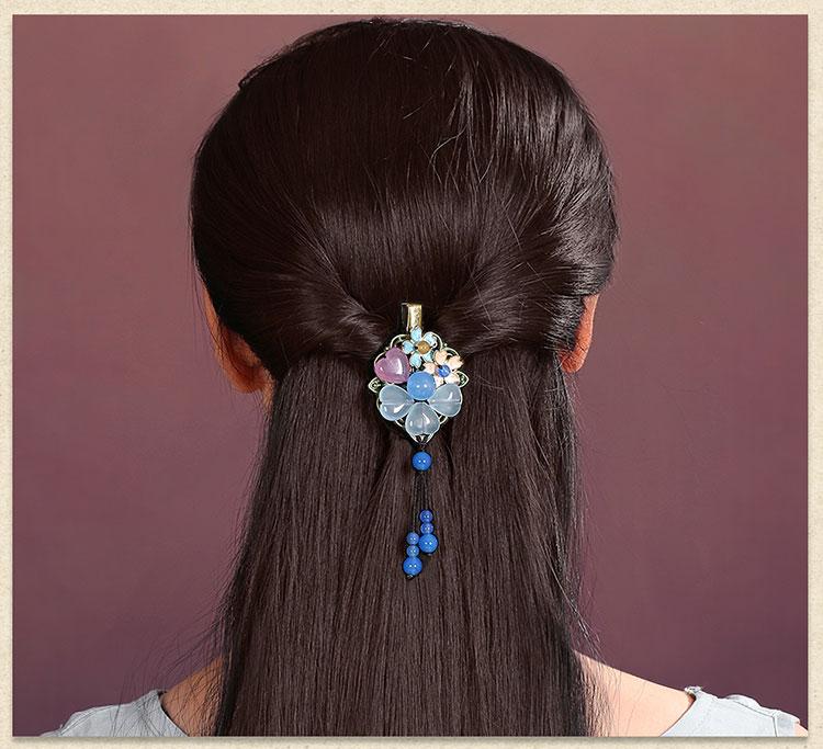 优雅复古发夹,蓝色彩玉发夹头饰