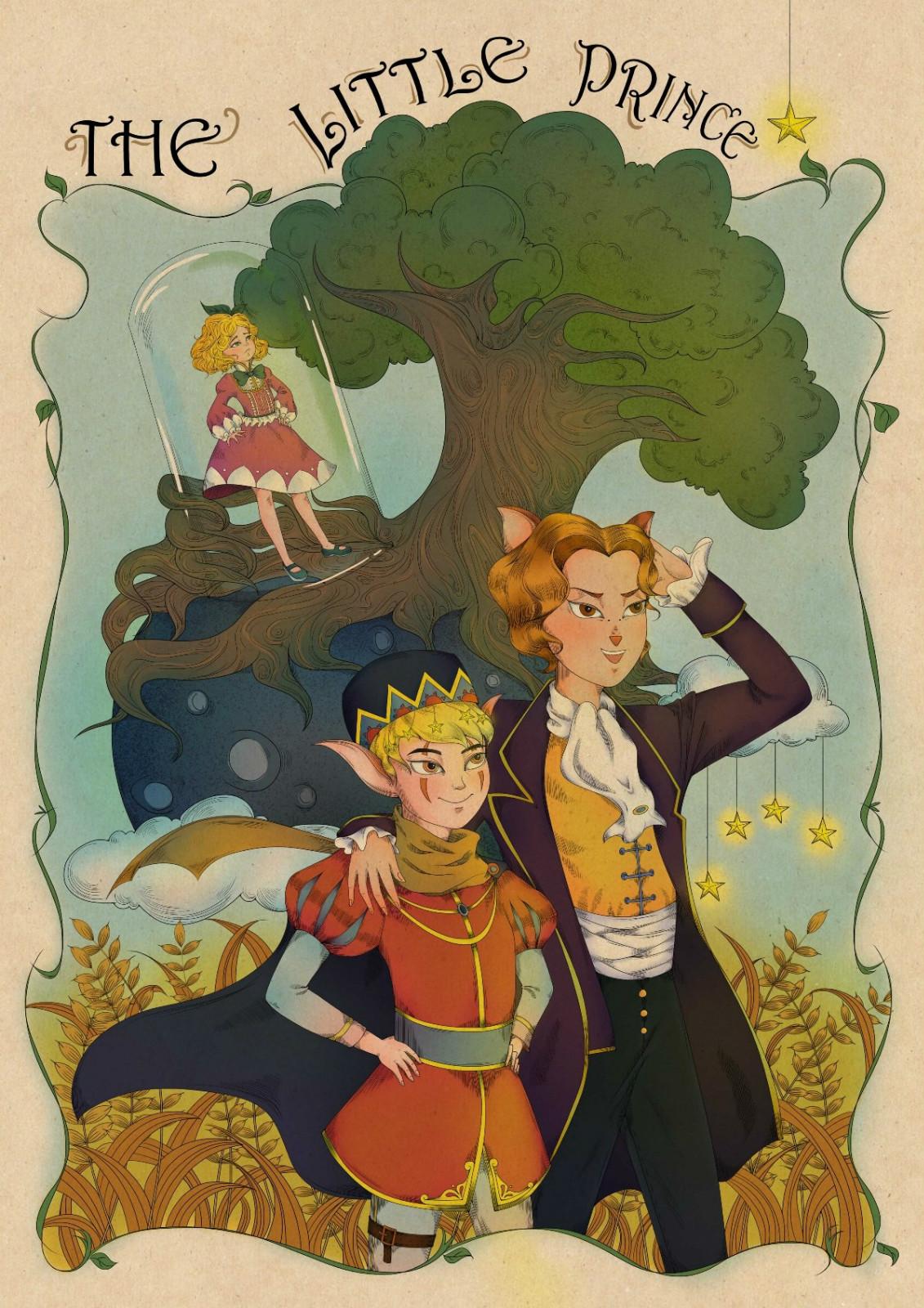 复古童话故事手绘插画