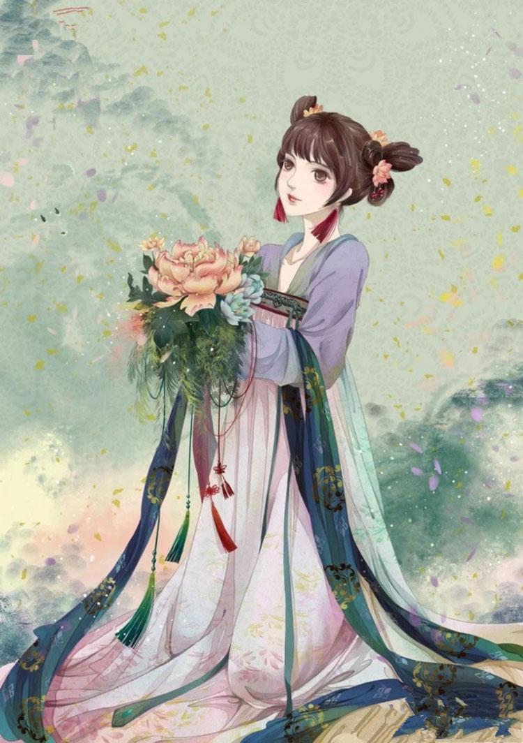 中国风美女手绘插画图片,五款唯美古风人物