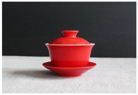 简约富贵红盖碗,中国风喜庆红