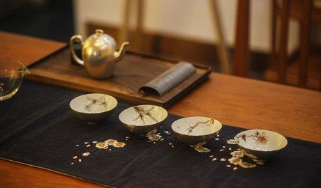 中国风梅兰竹菊鎏银茶具