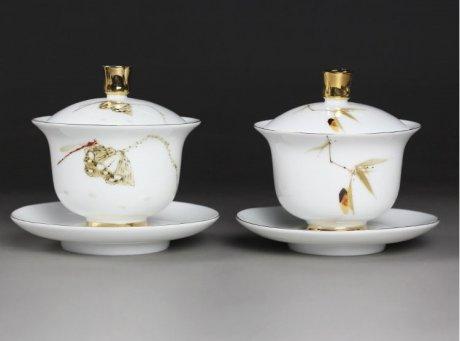 羊脂玉白瓷盖碗,简约描