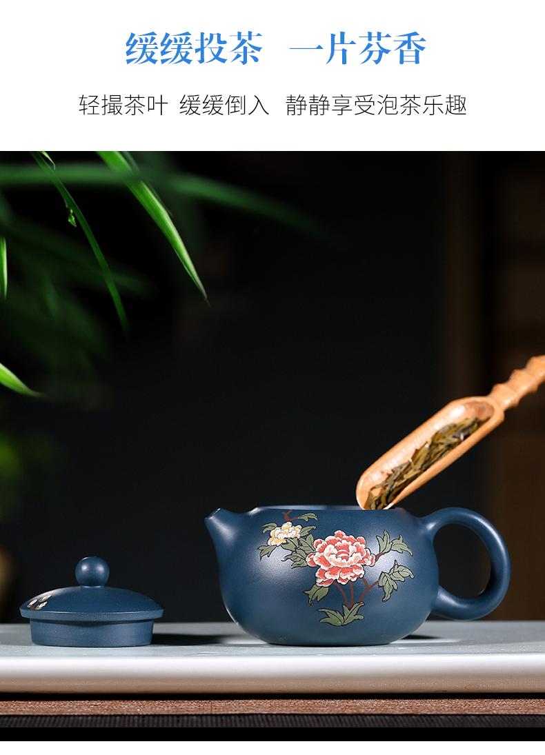 纯手工紫砂壶,小巧珐琅印花紫砂壶