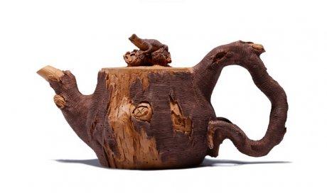 仿木外皮紫砂壶,创意木桩手工