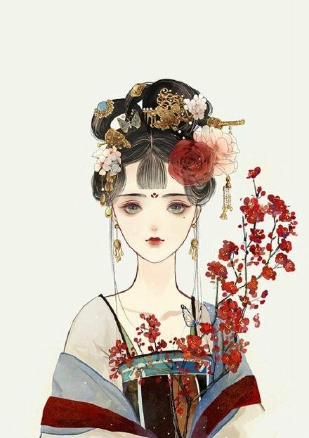 古典美女插画,中国风手绘插画
