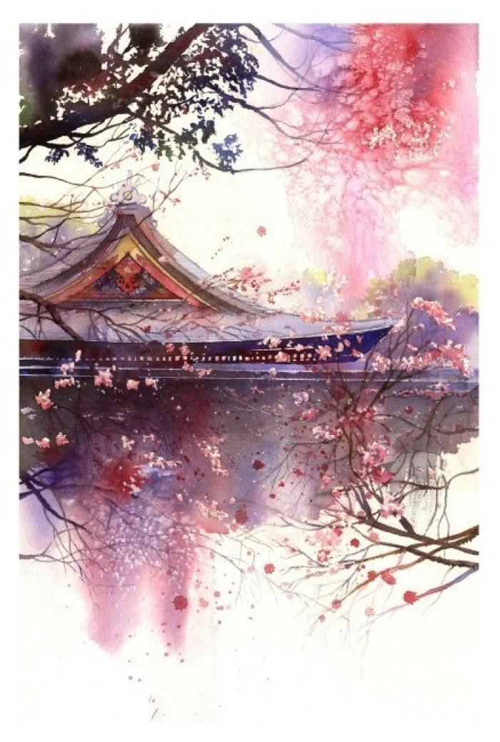 湖光月色插画,景色秀丽手绘插画