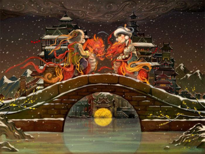 中国风年画插画,中国风手绘插画图片