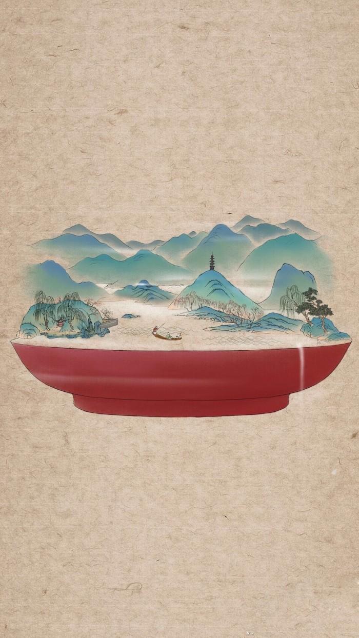 器具上的山河插画,中国风创意手绘插画