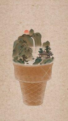 器具上的山河插画,中国风创意