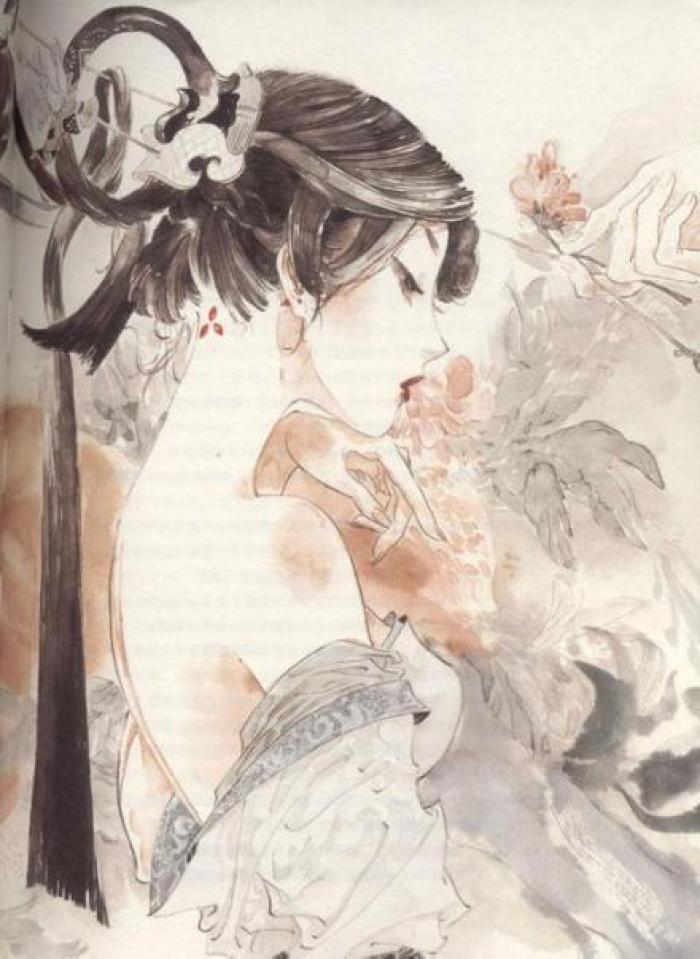 凄美国画插画,中国风诗意手绘插画