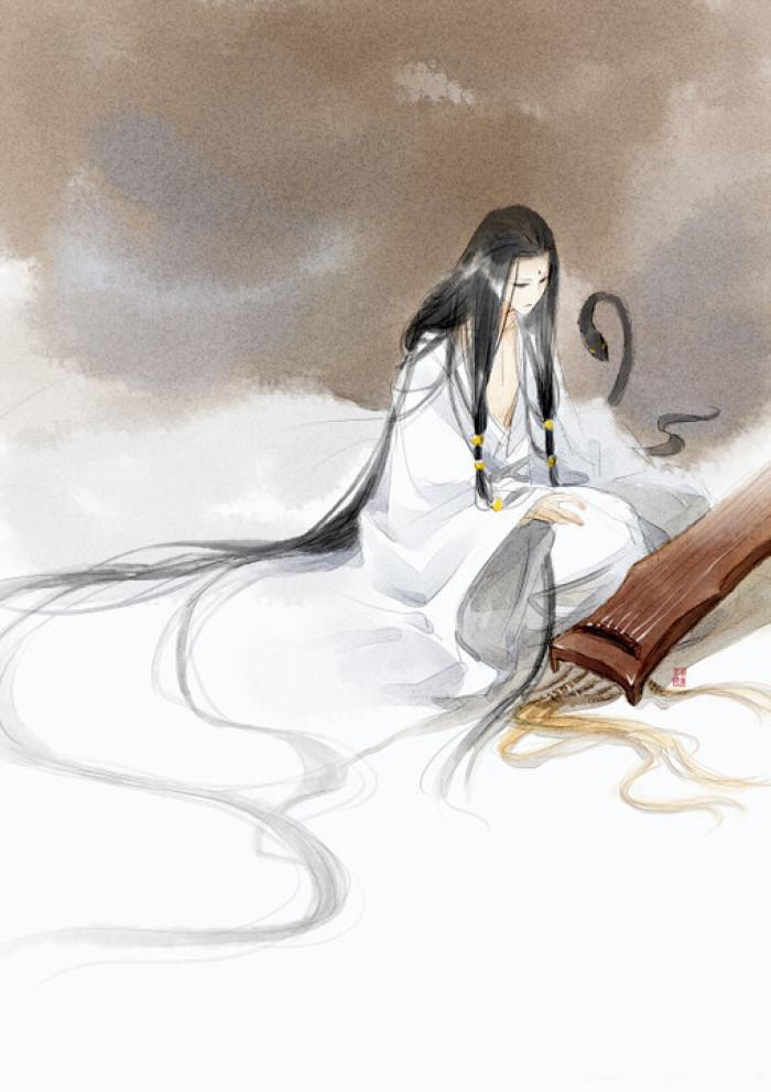 唯美人物插画,诗意中国风手绘插画