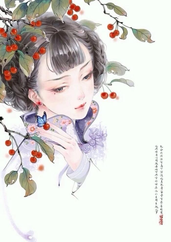 相见茫然诗意插画,中国古风手绘插画