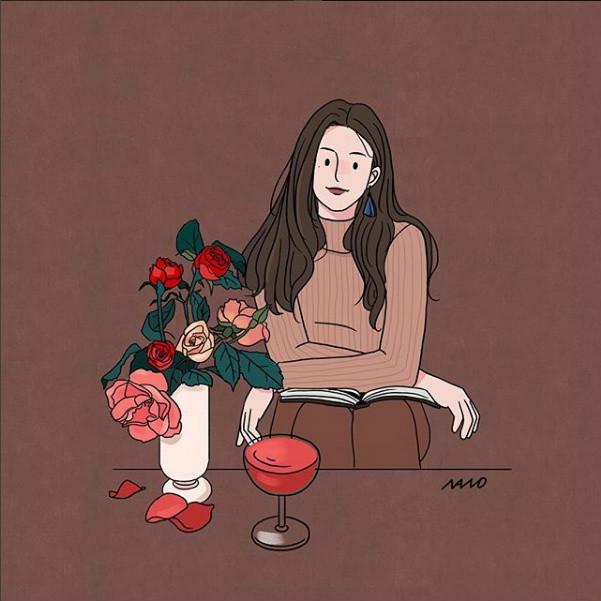 姑娘精致生活手绘插画,唯美小清新插画图片
