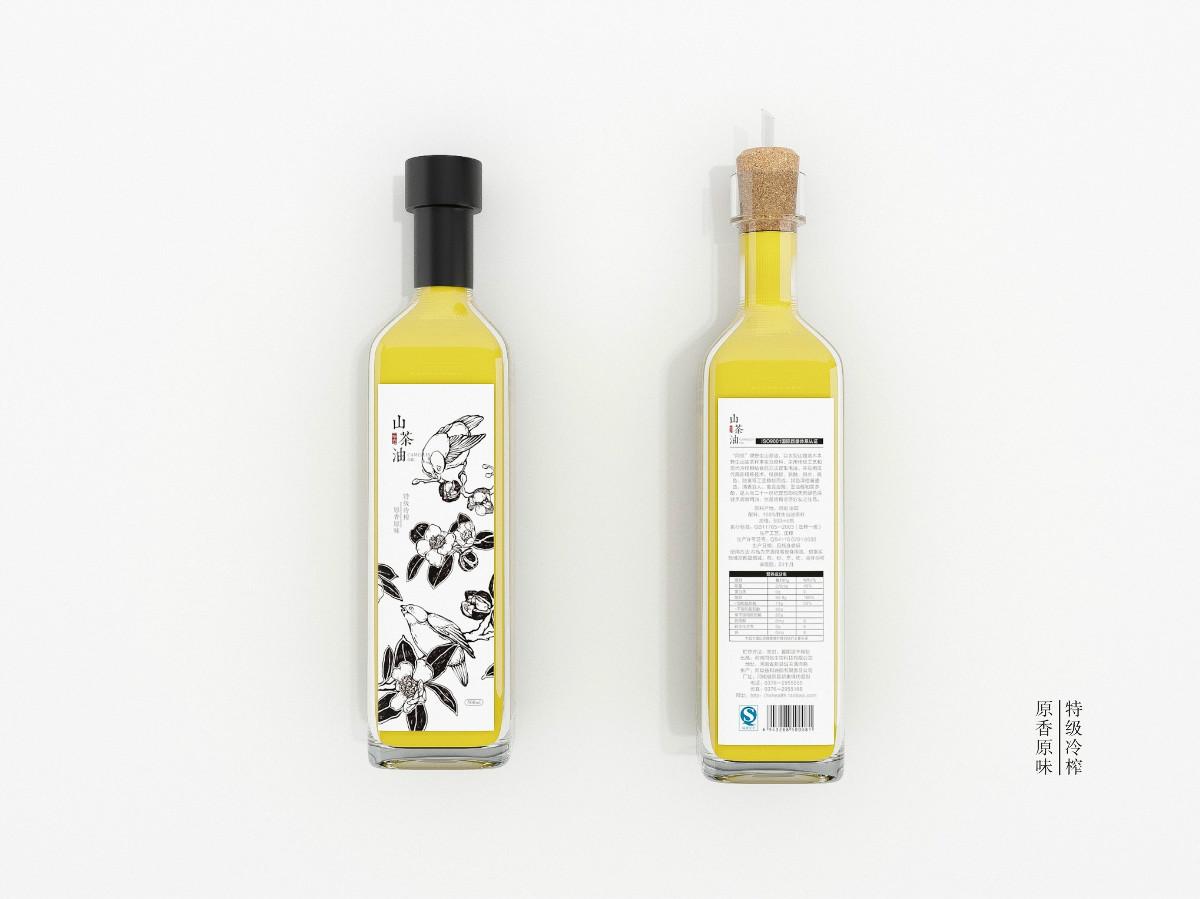 山茶油包装设计,手绘图案食品包装设计