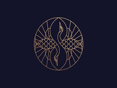 仙风道骨白鹤logo,精致典雅logo图片