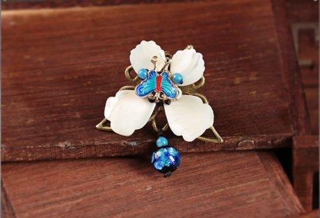 蓝蝶起舞戒指,民族风个性指环
