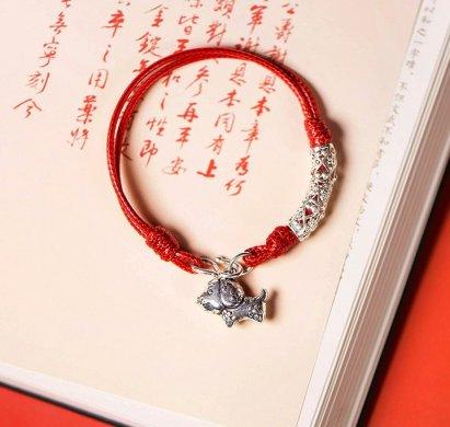 雕花狗生肖手链,本命年红绳银