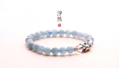 释迦摩尼佛像银手链,净然海蓝