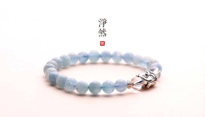 释迦摩尼佛像银手链,净然海蓝宝手串