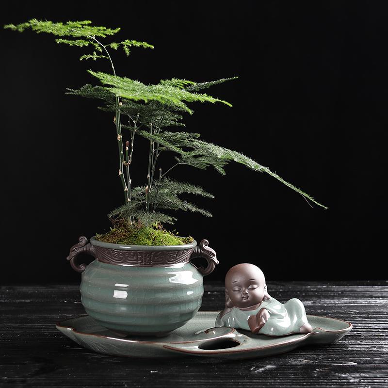 复古中国风文竹盆景,禅意小和尚盆景