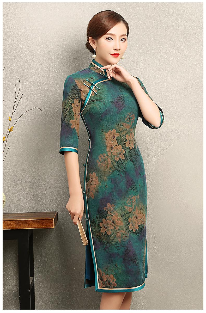 复古雍容的墨绿旗袍,古典印花旗袍裙