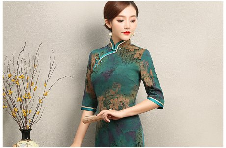 复古雍容的墨绿旗袍,古典印花
