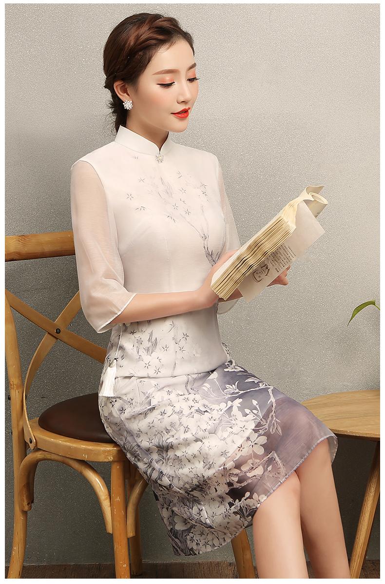 清丽淡雅樱香旗袍,时尚印花旗袍裙