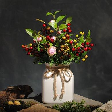 可爱浆果插花艺术,仿真茶花中