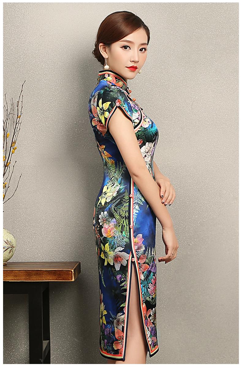 蔓如花靓丽旗袍,唯美短袖印花旗袍裙