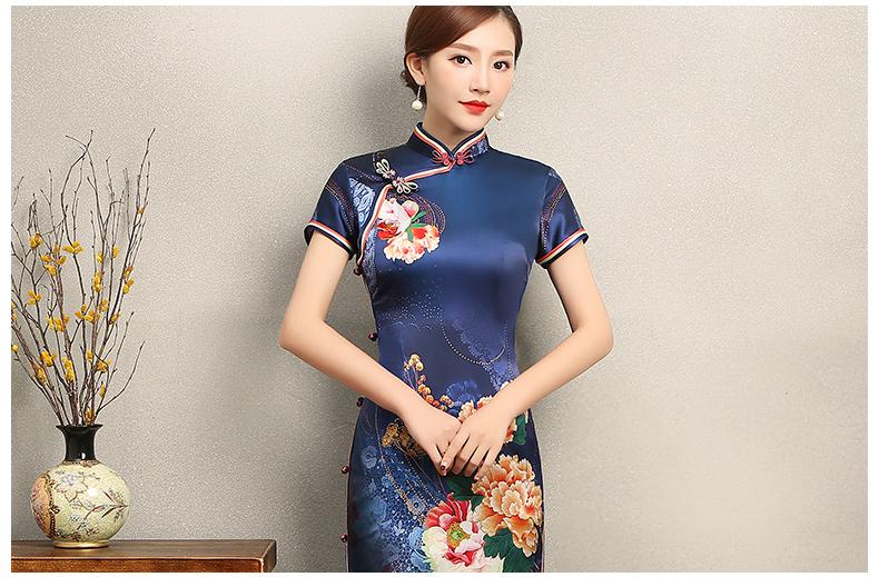 知性优雅蓝色旗袍,花娇印花短袖旗袍裙