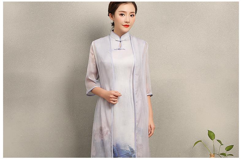温婉优雅淡紫旗袍,文艺复古气息旗袍裙