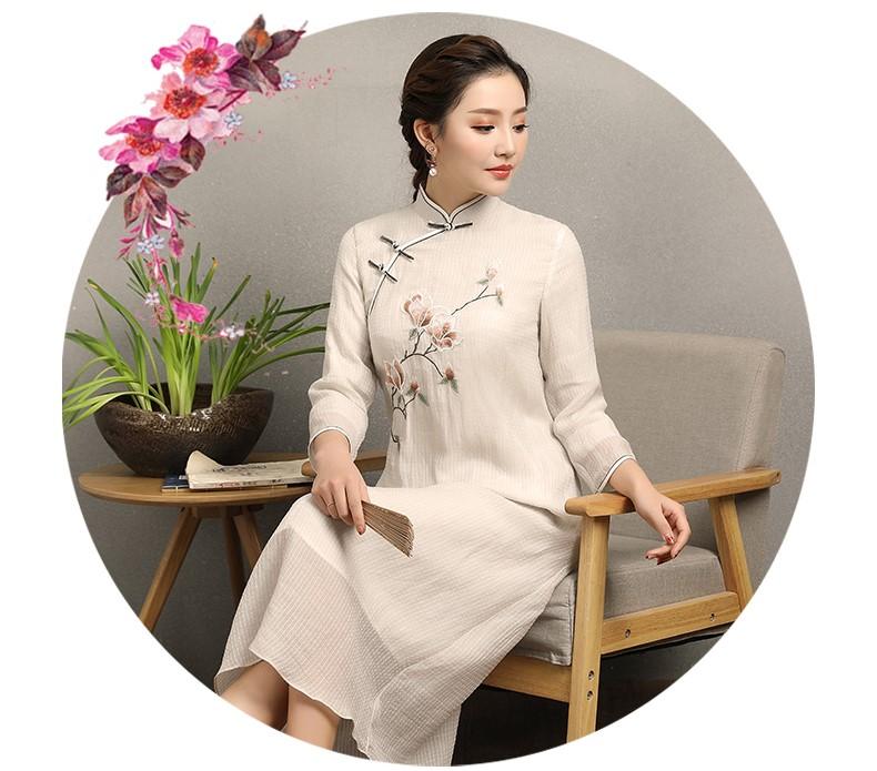 兰花刺绣素雅旗袍,米白色中长款旗袍裙