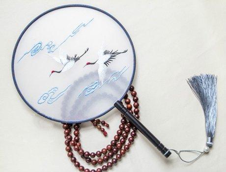 福寿双鹤刺绣团扇,典雅韵味刺