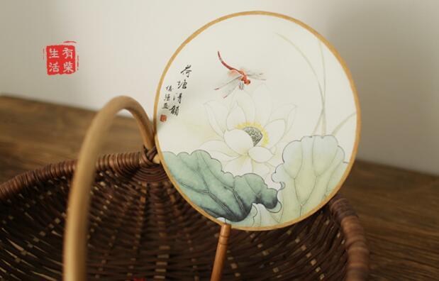 古典汉风宫廷团扇,清新文艺复古圆扇子