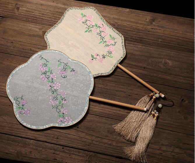 中国风手工古典团扇,汉服宫扇长柄手绘扇子