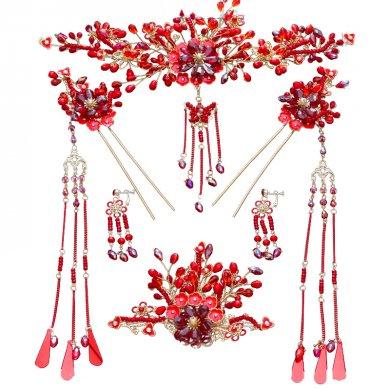 红色中国风头饰,精致唯