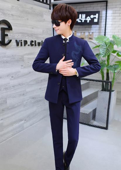 中国风绣龙中山装,休闲时尚学生中山装