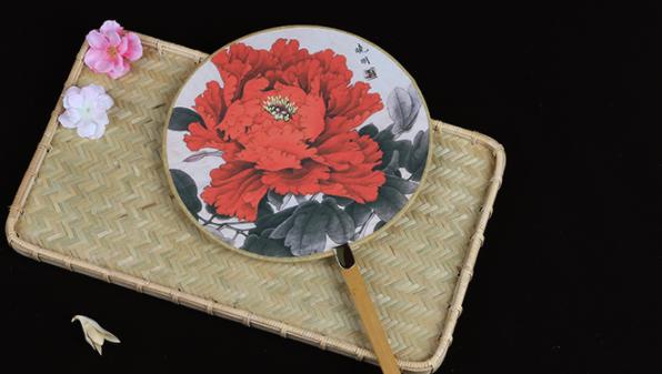 六款图案女式团扇,古风工艺汉服古典扇子图片