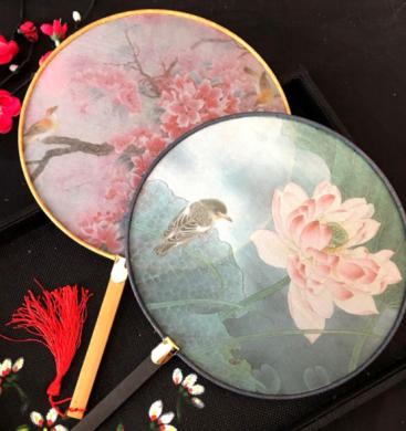 中国风复古仿竹团扇,真丝半透