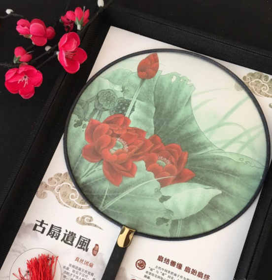 中国风复古仿竹团扇,真丝半透明双面团扇图片