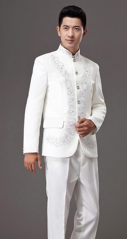 青年修身中山装,立领中山装演出服